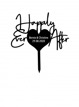"Individueller Topper ""Happily Ever After"" mit Wunschtext"